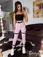 Женский летние брюки на манжетах с ремешками и завышенной талией 6612361Е, фото 1