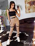 Женский летние брюки на манжетах с ремешками и завышенной талией 6612361Е, фото 3