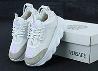 Кроссовки женские на платформе белые модные стильные Versace Версаче
