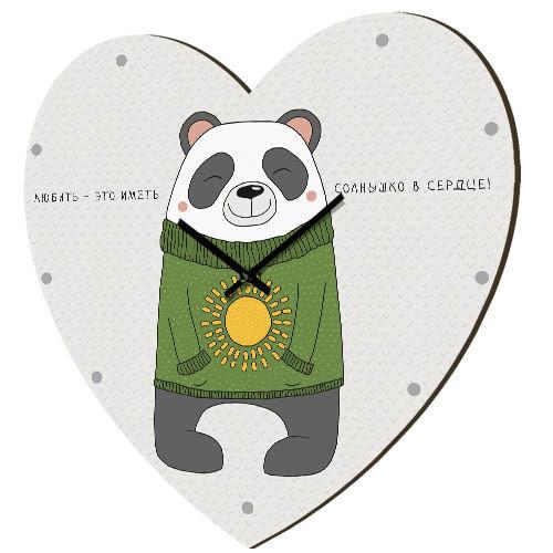Часы в форме сердца Любить - это иметь солнышко в сердце! 36x36 см (CHS_P_16L005)