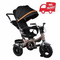 Трехколесный детский велосипед VELOBABY GS-401 Черный на золотой раме.  БЕСПЛАТНАЯ доставка!