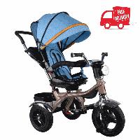 Трехколесный детский велосипед VELOBABY GS-401 Синий на белой раме.  БЕСПЛАТНАЯ доставка!