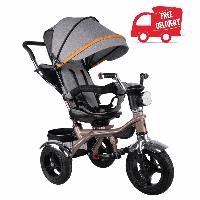 Трехколесный детский велосипед VELOBABY GS-401 Серый на золотой раме.  БЕСПЛАТНАЯ доставка!