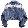 Женская укороченная джинсовая куртка с декором на спине 68KU2103