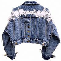 Женская укороченная джинсовая куртка с декором на спине 68KU2103, фото 1