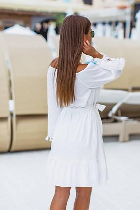 """Летнее льняное мини-платье """"Паула"""" с кружевом и оголенными плечами , фото 2"""