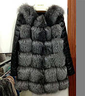 Шубка женская меховая с кожаными рукавами!