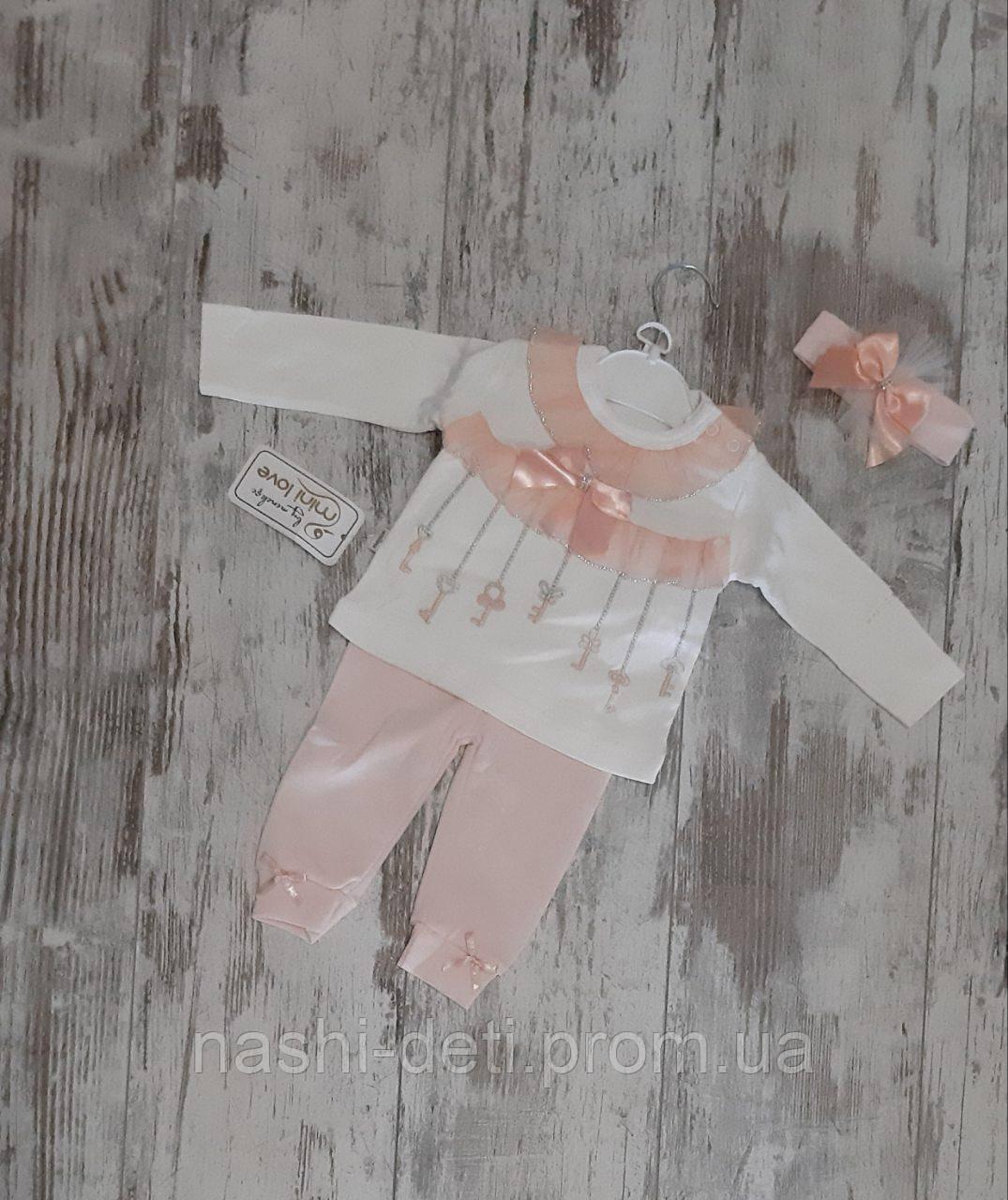 Костюмчик для девочек с повязкой. размер 3-9 мес. оптом.