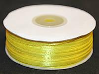 Лента атласная. Цвет - желтый насыщенный. Ширина - 0,3 см, длина - 123 м
