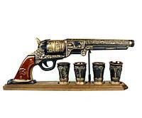 Пистолет Кольт на деревянной подставке - подарочный набор для спиртного