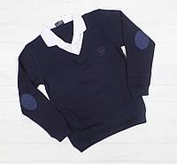 Рубашка-обманка школьная для мальчика 6,8,10,12,14 лет белый воротник