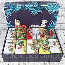 Продажа кратно 10 шт! Подарочная коробка жестяная ЛАМА 412-38 (0804). МИКС картинок