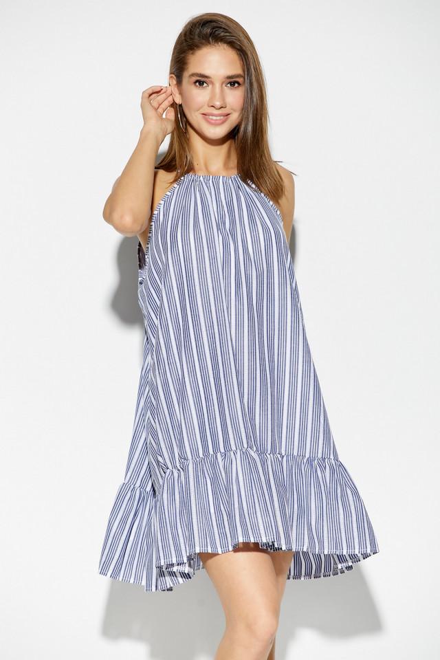 Женское летнее платье, синее с воланом, коттон, повседневное, пляжное, короткое