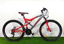 Акция! Спортивный велосипед 26 дюймов 18 рама Azimut Scorpion + подарок. Красно-серый. Велосипед азимут.