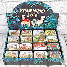 Продажа кратно 16 шт! Подарочная коробка жестяная ЛАМА 412-22 (0804). МИКС картинок