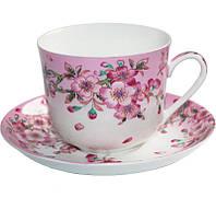 Большая чайная чашка Яблоневый цвет 450 мл с блюдцем BD-XX957-Ppsg, КОД: 171655