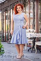 Летнее льняное большое платье на пуговицах, фото 1