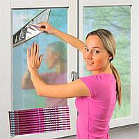 Солнцезащитная зеркальная пленка для окон 35мкм 80х240см с двухсторонним скотчем в красной упаковке