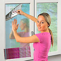 Солнцезащитная зеркальная пленка для окон 35мкм 100х240см с двухсторонним скотчем в красной упаковке