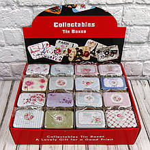 Продажа кратно 16 шт! Подарочная коробка-сумочка жестяная ЦВЕТЫ 412-36 (0804). МИКС картинок