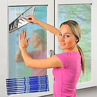 Светоотражающая зеркальная пленка для окон 50 мкм 100х240 см с двухсторонним скотчем в синей упаковке