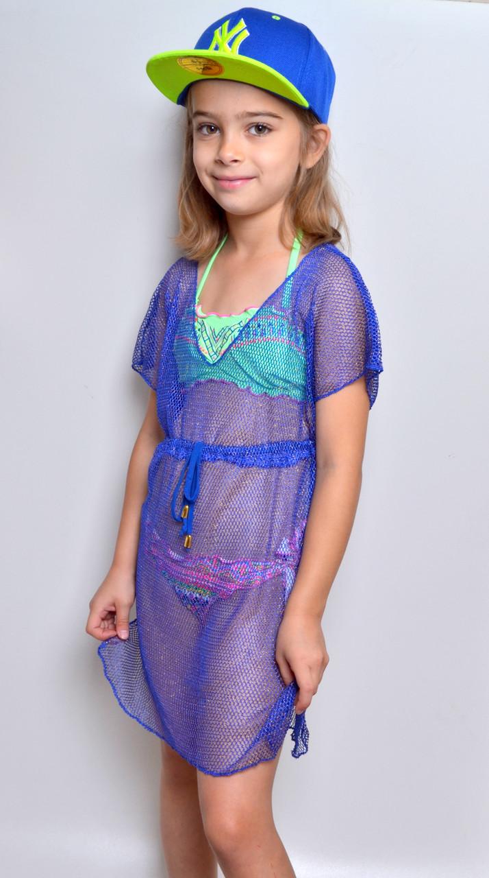 №334 Пляжная туника-платье Подросток Сетка (люрекс). рост 134-152. Есть мята и электрик.