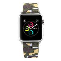 Ремешок для часов Apple Watch 38 мм 40 мм силиконовый с пряжкой, Camouflage with yellow, фото 2