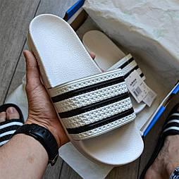 """Мужские сланцы Adidas Adilette Flip-Flops """"white"""" тапочки белые. Живое фото (Реплика ААА+)"""