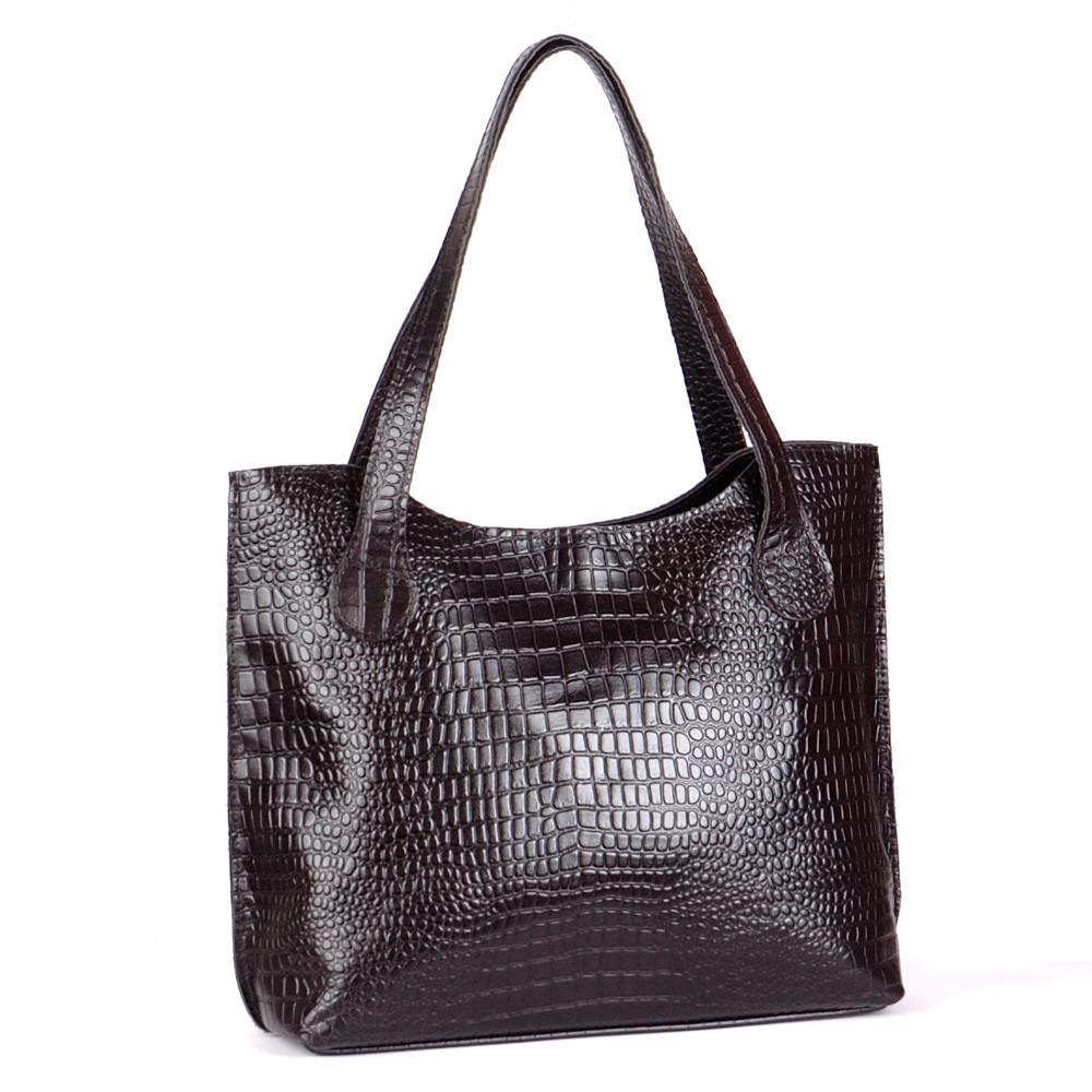 Женская сумка кожаная 01 черный кайман 01010201