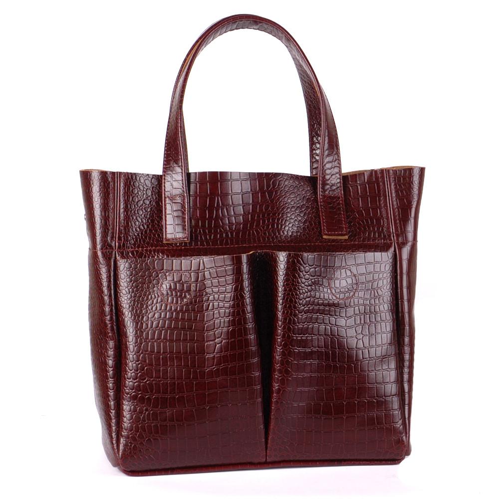 Женская кожаная сумка 02 темно-коричневый кайман 01020206