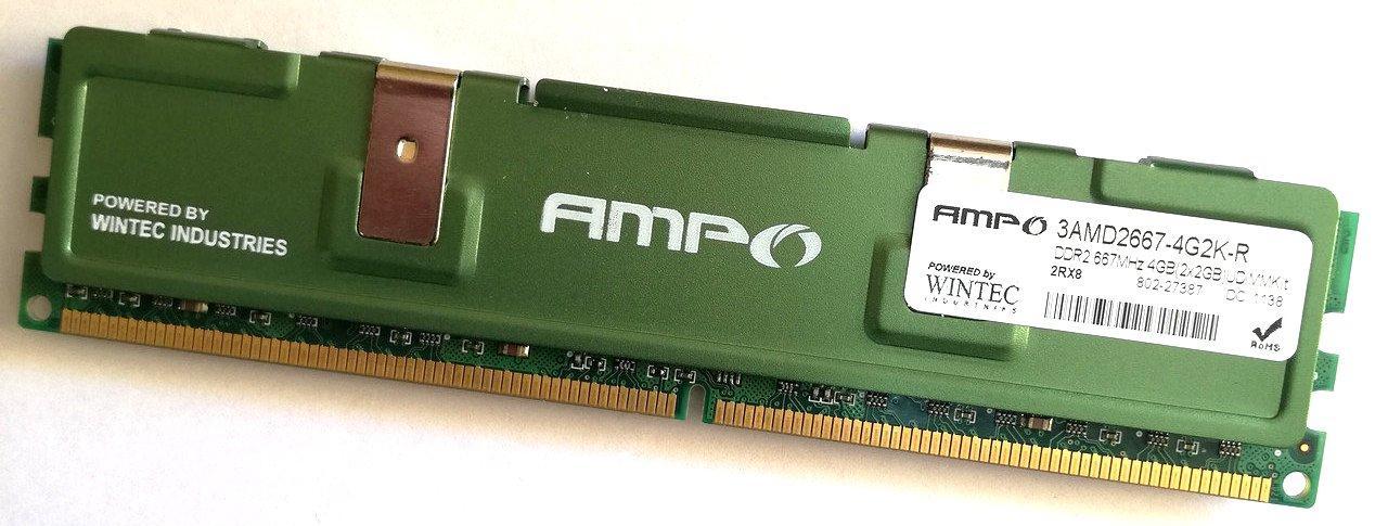 Игровая оперативная память Wintec AMPO DDR2 2Gb 667MHz PC2 5300U CL5 (3AMD2667-4G2K-R) Б/У