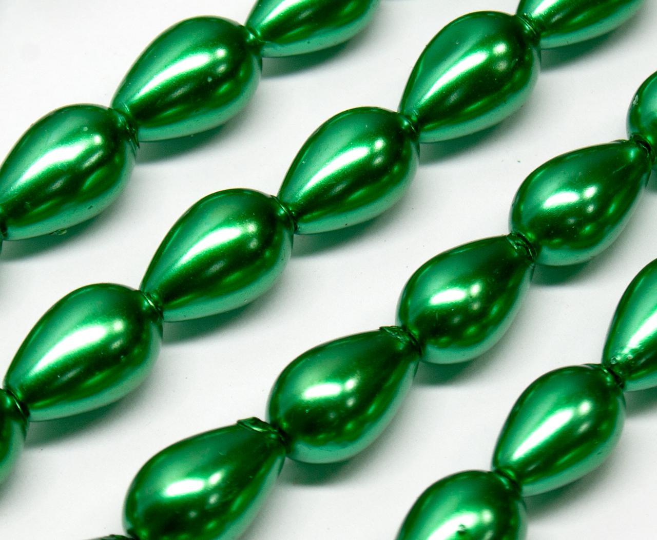 Жемчуг стеклянный  капля 11х8мм   пачка - примерно 50 шт, цвет - зеленый глянцевый
