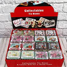 Продажа кратно 16 шт! Подарочная коробка-сумочка жестяная 412-35 (0804). МИКС картинок
