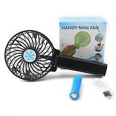 Портативний USB міні-вентилятор з акумулятором Portable Mini Fan S02 Black