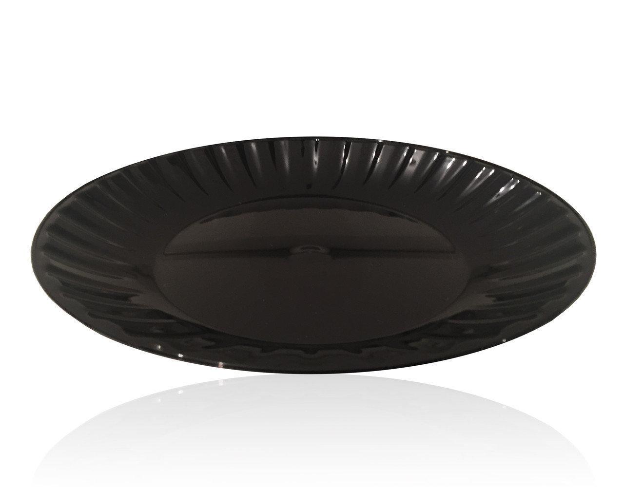 Тарелка мелкая d=20,5см стекловидная черная 10шт