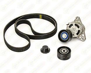 Комплект натягувач + ролик + ремінь на Renault Trafic II 2006->2014 2.5 dCi — Nissan (Оригінал) - 11720-00Q4C