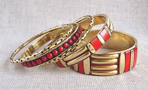 Красные индийские браслеты  женские бижутерия