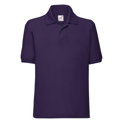 Стильная однотонная футболка поло летняя детская фиолетовая