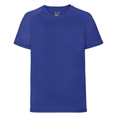 Однотонная подростковая спортивная футболка ярко-синяя - 104, 116, 128, 152