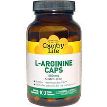 "L-Аргинин Country Life ""L-Arginine Caps"" 500 мг (100 капсул)"