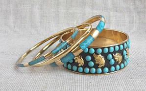 Индийские  браслеты голубые со слониками