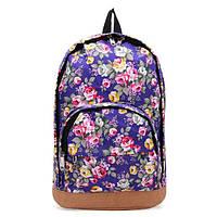 Женские молодежные рюкзаки с цветочным принтом. Рюкзак с цветами. Синий, черный, красный., фото 1