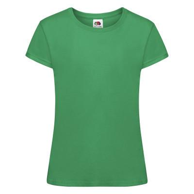 Хлопковая однотонная футболка для девочки ярко-зеленая