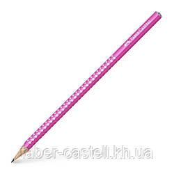 Карандаш чернографитный Faber-Castell Grip Sparkle Pearl розовый корпус, 118212
