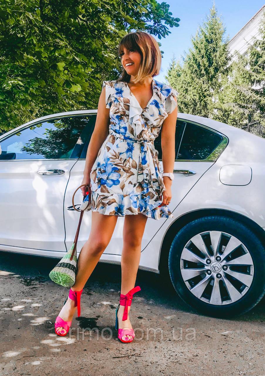 Плаття на запах літній Силена блакитний