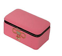 """Шкатулка """"Элегантность"""" для украшений, кожзам, 11,5-7-5,3 см., розовая"""