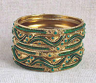 Индийские браслеты классические зеленые с бисером, фото 1