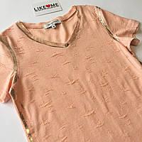 Персиковая футболка для девочки