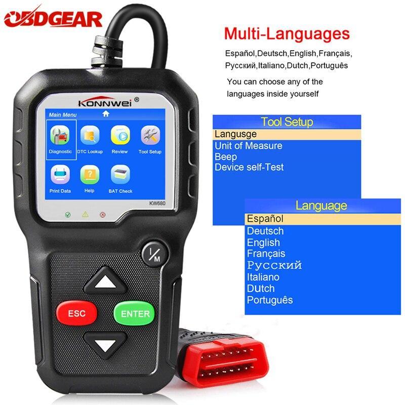 """Adapter сканер KONNWEI KW680 цветной экран 2.4"""" XP WIN7 WIN8 WIN10  автотестер напряжения батареи автосканер"""
