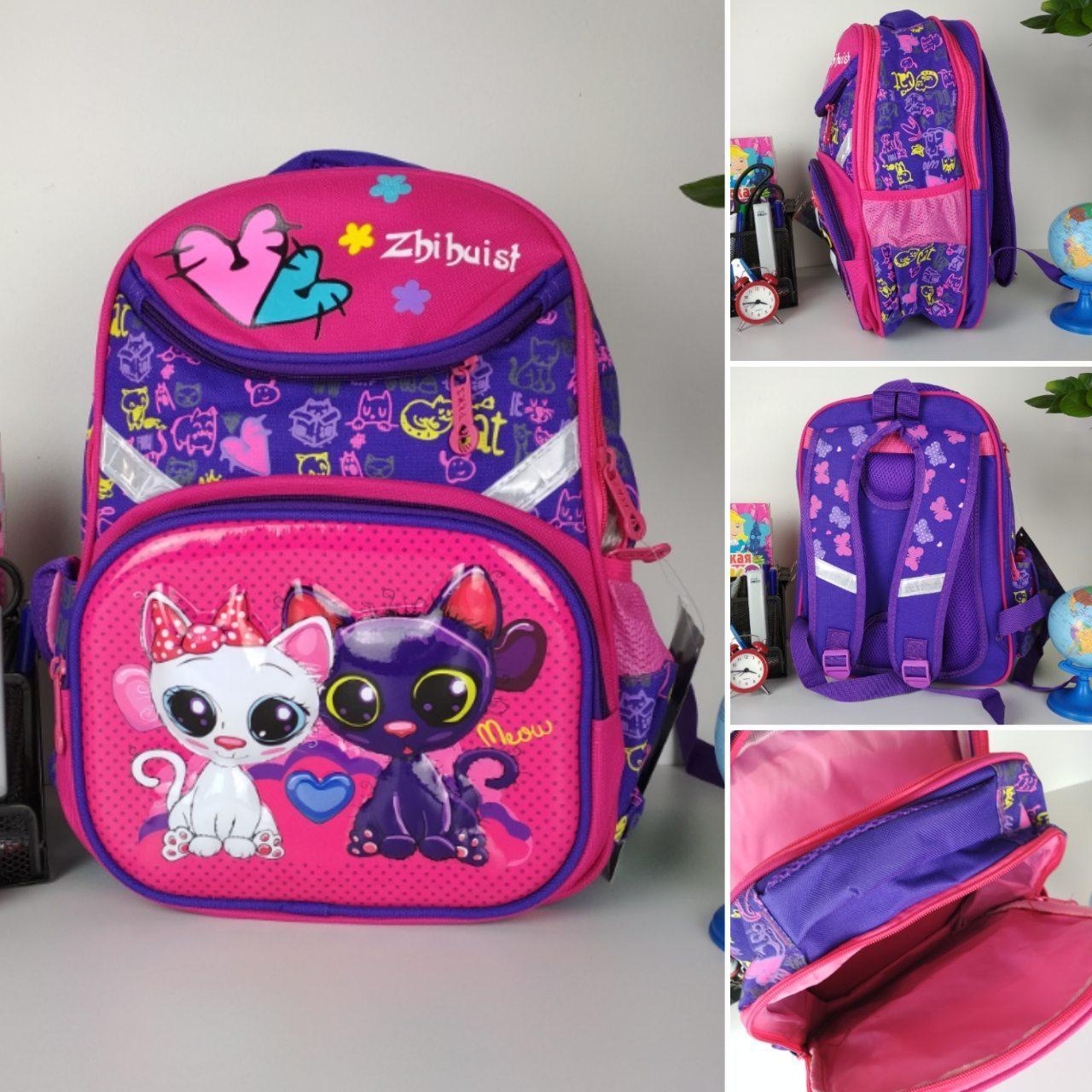 Школьный фиолетовый портфель для девочки с кошечками 38*28*16 см